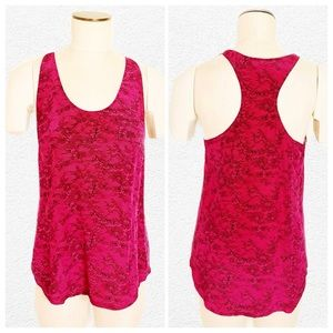 Joie Floral Lace Print Silk Racerback Tank, Small